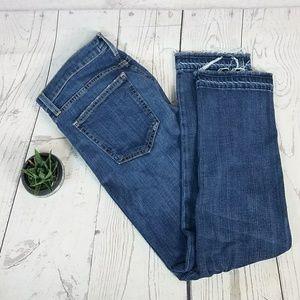 Current Elliott Cropped Straight Raw Hem Jeans